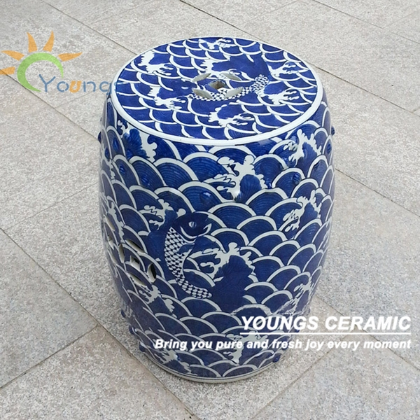 Antique Chinese HAND PAINTED Blue and White Porcelain Garden Furniture Stool<br><br>Aliexpress