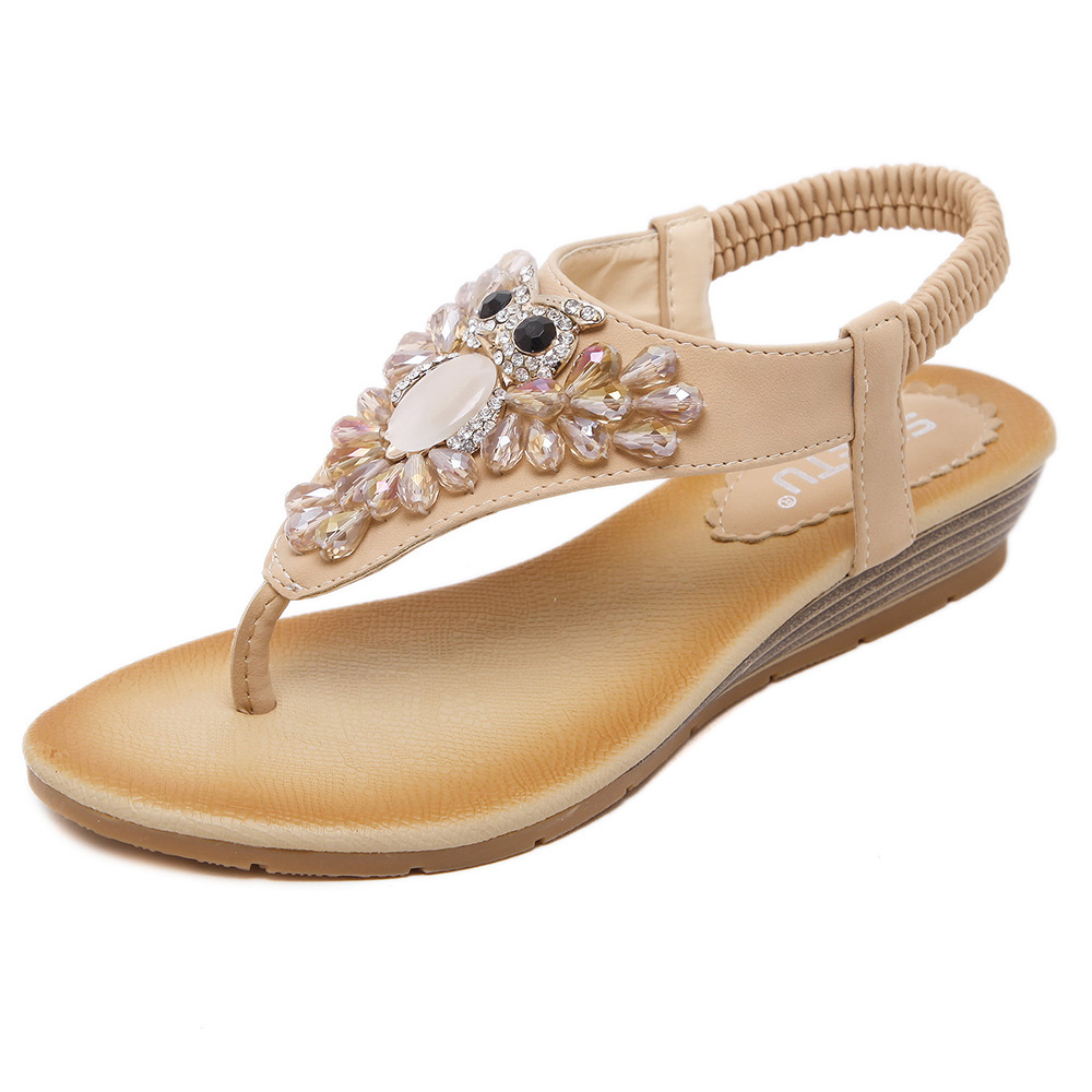 Women 39 S Bohemian Flowers Beading T Strap Flats Sandals