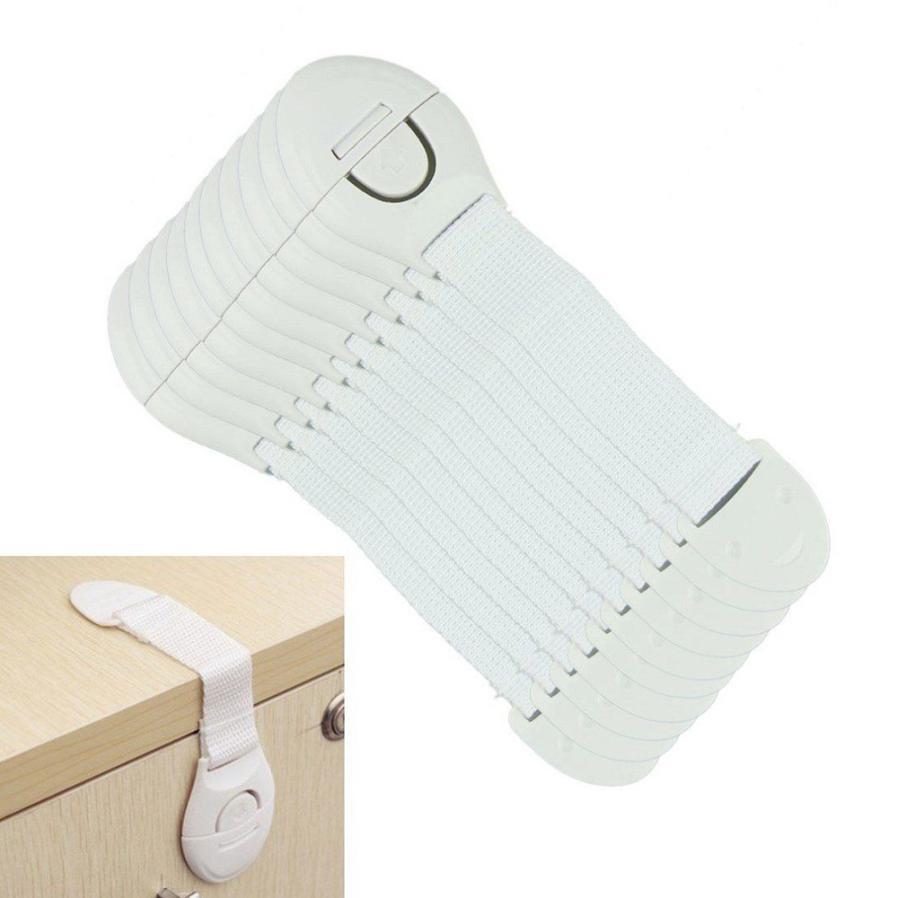 Delicate Hot ! Newest 10pcs Cabinet Cupboard Door Drawers Refrigerator Toilet Safety Plastic Lock Baby kid nor51123 P14