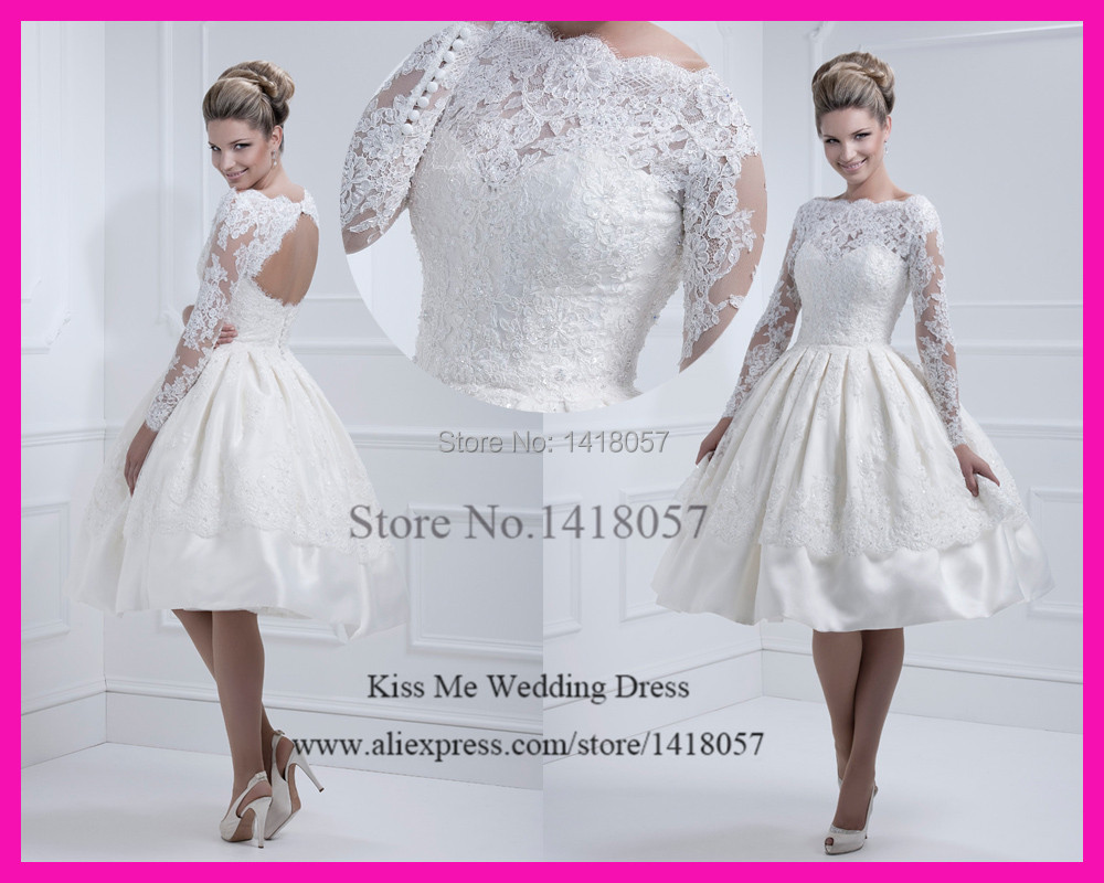 2015 high quality long sleeves short wedding dresses lace for Short open back wedding dresses