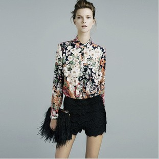 Free Shipping European Style Famous Brand Fashion Flowers Printed Shirt Chiffon Long Sleeve Blouse Women Clothing #SX8240