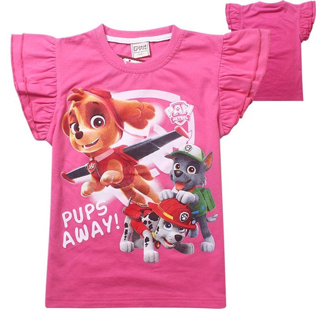 Собака патруль одежда детская футболки для девочек мультфильм свободного покроя детей топы одежда костюм майка тянуть миньон губка боб enfant