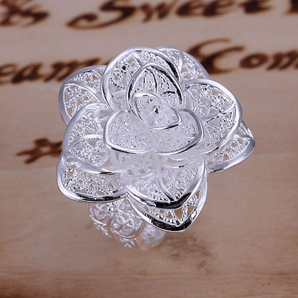Free Shipping piercing wholesale fashion 925 sterling silver rings handmade fine 925 silver jewelry Flower wedding ring R116(China (Mainland))