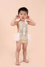 2015 New Gold Sequins Baby Girls Bubble Romper With Lace Ruffle Infant  Toddler  Sunsuit  Newborn Ruffled Swing Clothing(China (Mainland))