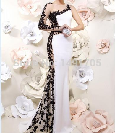 2015 Modern mermaid black applique lace one long sleeve backless floor length prom gowns white formal evening dresses - Love forever wedding store