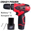 Crazy Power 12V rechargeable lithium battery 2 torque electric drill household electric screwdriver hand Cordless screwdrive