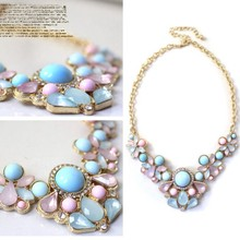 Low Price Elegant Resin Flower Crystal Pendant Bubble Choker Chunky Statement Bib Necklace(China (Mainland))