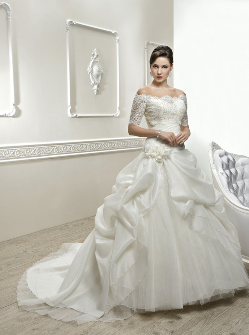 fashion taffeta organza wedding dress bridal gown with lace jacket