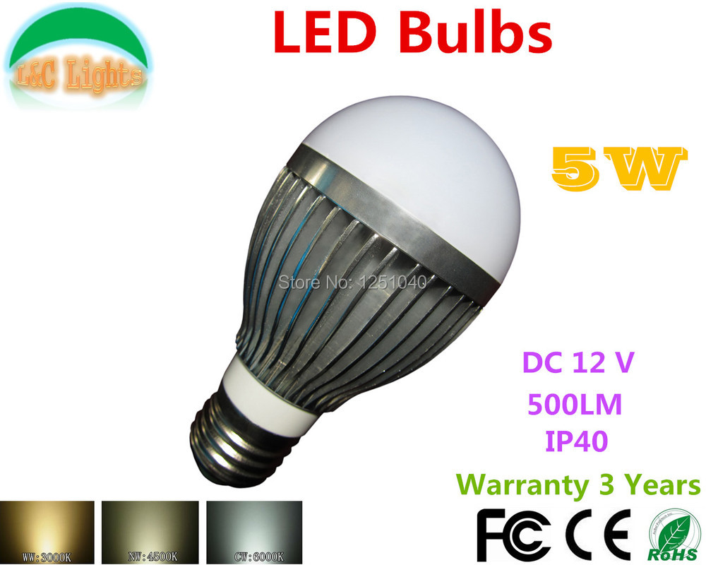 Direct sales 4PCs/Lot 5W LED Bulb DC 12V LED Light Bulb 500LM Home Lighting CE RoHS E14 E27 GU10 GU5.3 LED Lamp Free Shipping(China (Mainland))