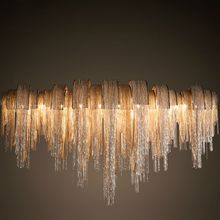 Hotel Villa  Lobby Italy tassels non-standard customized chandelier waterfall LED aluminum carbon chain pendant home lighting (China (Mainland))