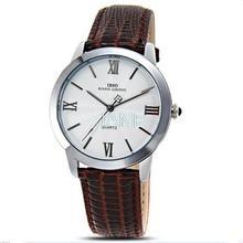 Ibso 3801 hombres cuarzo reloj redondo grande Dial reloj análogo con hombres impermeables relojes banda de cuero 0650