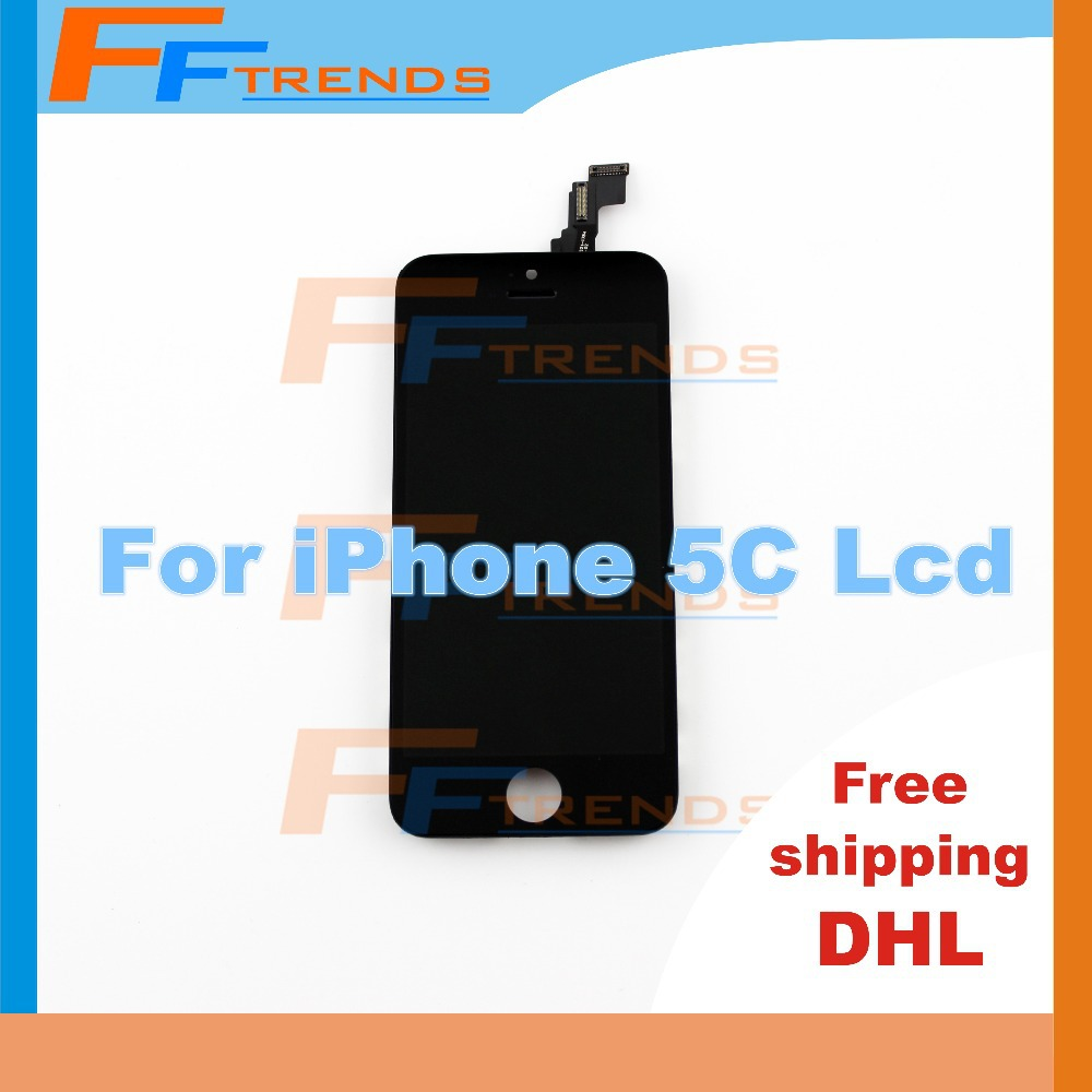 5 pcs/lot 100% Guarantee High Quality AAA Oem lcd For iPhone 5C Lcd Screen Digitizer Assembly Black White Free Shipping DHL(China (Mainland))