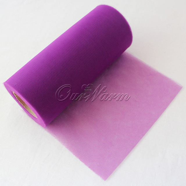 "Purple Tulle Roll Fabric Spool 6""x25YD Tutu Wedding Party Gift Bridal Bow Craft Banquet Decoration Favor"