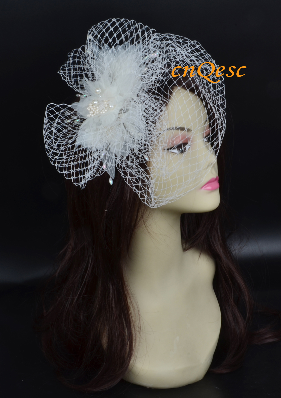 Ivory color Bridal fascinator with Pearls &Veiling for Wedding and Bridal Accessories.(China (Mainland))