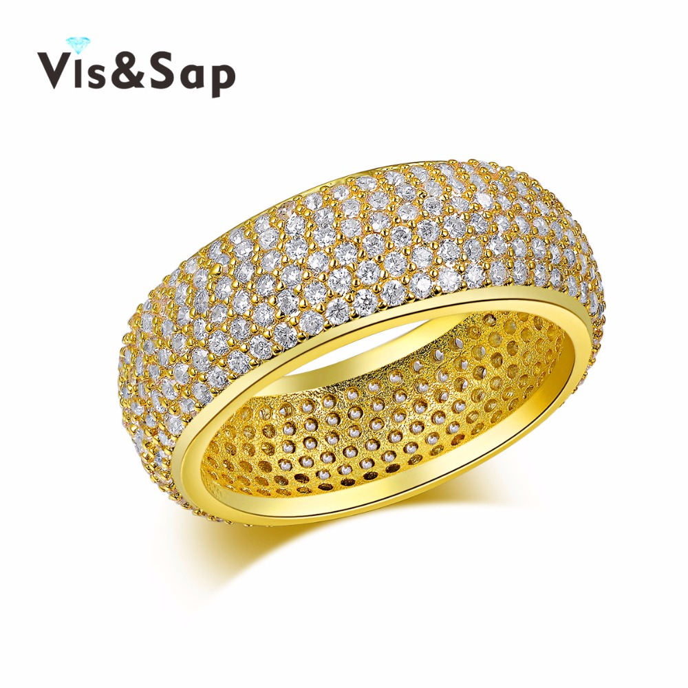 Wholesale Silver/18k Gold plated ring set jewelry CZ diamond Rings For Men/Women Wedding gifts fashion Jewelry VSR196<br><br>Aliexpress