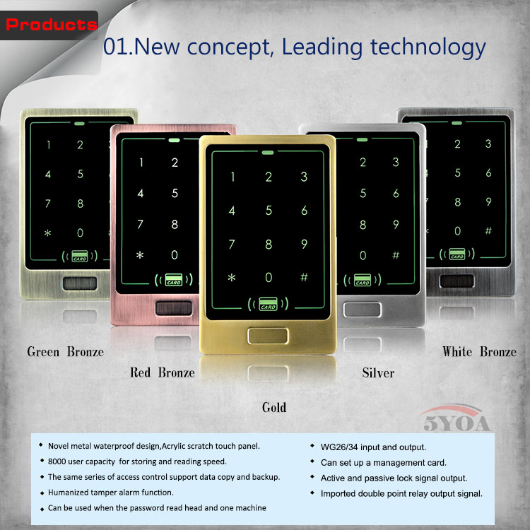 Metal Touch 8000 Users Door RFID Access Control Keypad Case Reader(China (Mainland))