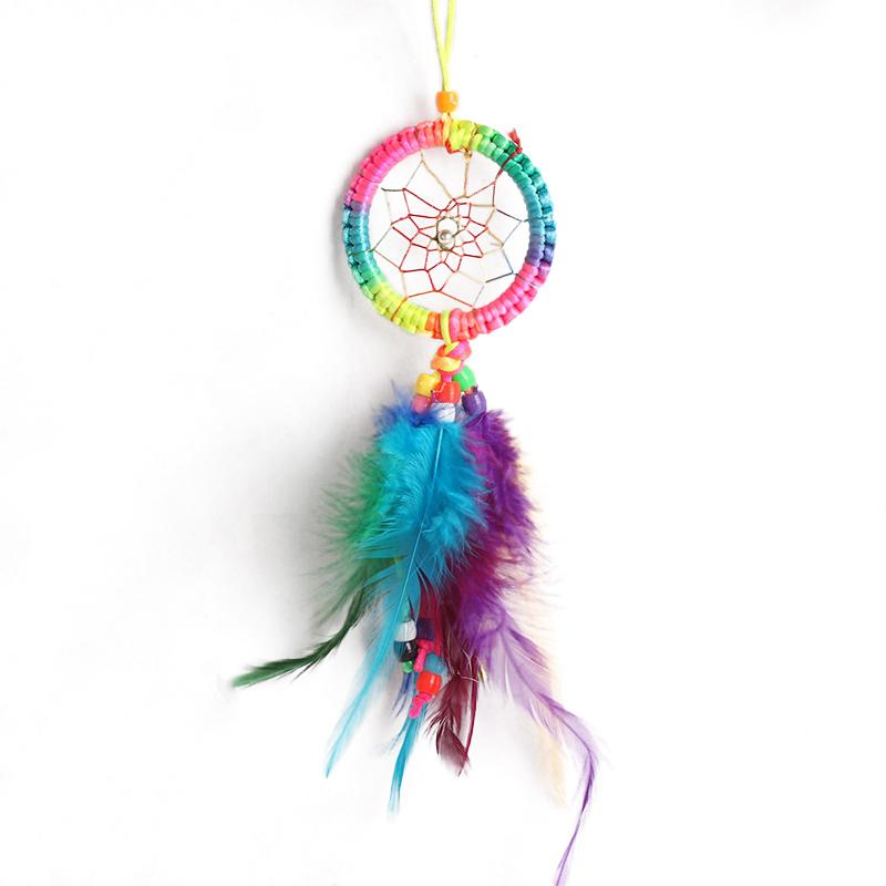 Small Dreamcatcher 7cm Chinese Knot Heart Feather Pendant L15154 Car Ornaments Indian Folk Style Home Decorations Dreamcatcher(China (Mainland))