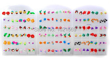 24pairs Wholesale Jewelry Lots Mixed Women Polymer Ear Studs Earrings + Display(China (Mainland))
