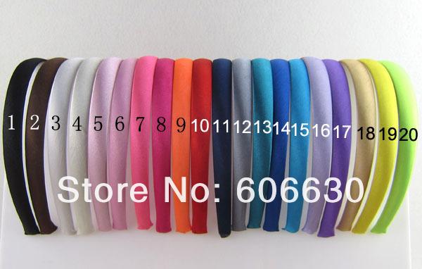 20pcs/lot -15mm (5/8'') children and lady sold Satin plastic hairbands Headbands Satin Headbands Headwear 20 Colors effective