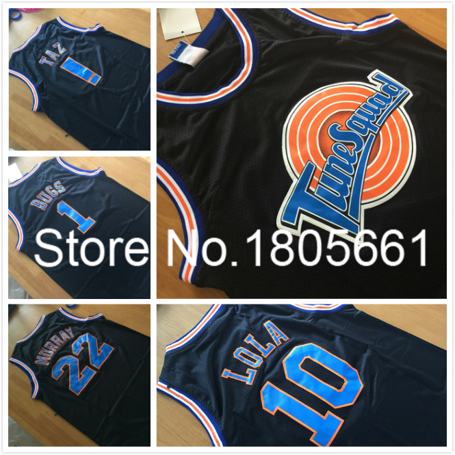 Space Jam #22 Bill Murray Jersey #1 Bugs Bunny Jersey #! TAZ Jersey BLACK Tune Squad LOONEY TOONES Basketball Jerseys(China (Mainland))