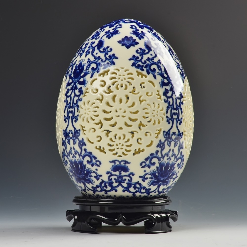 Fine archaize chinese high-grade tusk porcelain Egg shape Adornment Upscale gift Openwork carving art Ceramic Vase(China (Mainland))