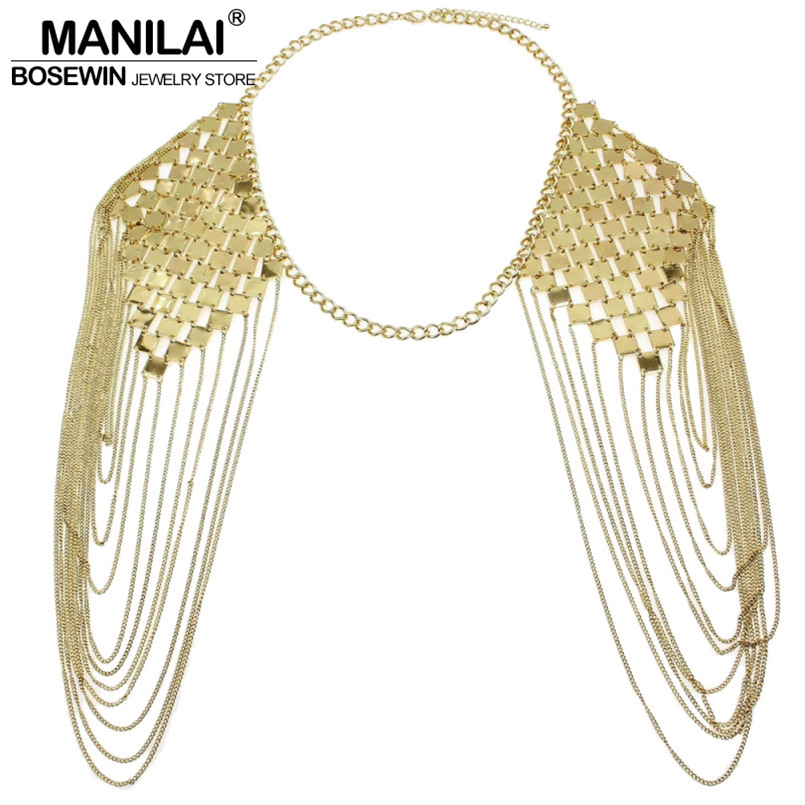 MANILAI Bohemian Punk Body Chain Necklaces Collar Shoulder Chain Long Necklaces & Pendants Women Sexy Statement Body Jewelry