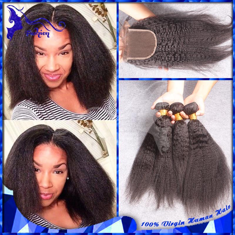 7A Brazilian Human Hair With Closure Kinky Straight 3 Bundles With Lace Closure Coarse Yaki Brazilian Virgin Hair With Closures(China (Mainland))