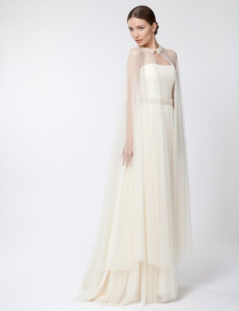 Elegant Tulle Wedding Bolero Bridal Cape Long Pearls Beaded Wedding Wraps Jacket Shawl Cape Wedding Accessories RJ12