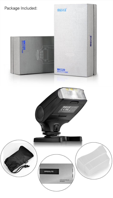 ถูก M eike MK-320 TTLแฟลชS PeedliteสำหรับO Lympus OM-D E-M5 II E-M10 E-M1ปากกาE-PL7 E-P5 E-PL6 E-PL5 E-PM2 E-P3 E-PL3 E-PM1 E-PL2