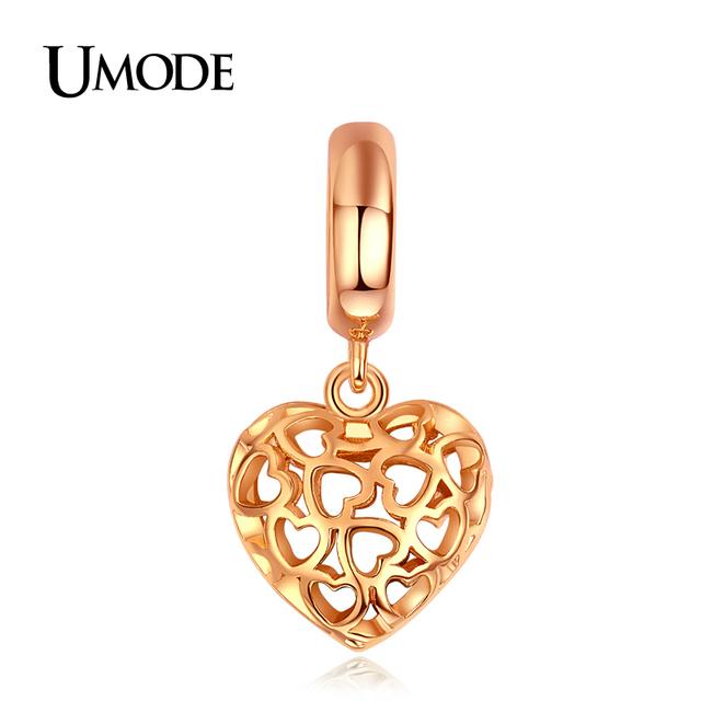 Umode металлический кулон позолоченные полые форме сердца DIY брелоки для браслеты ...