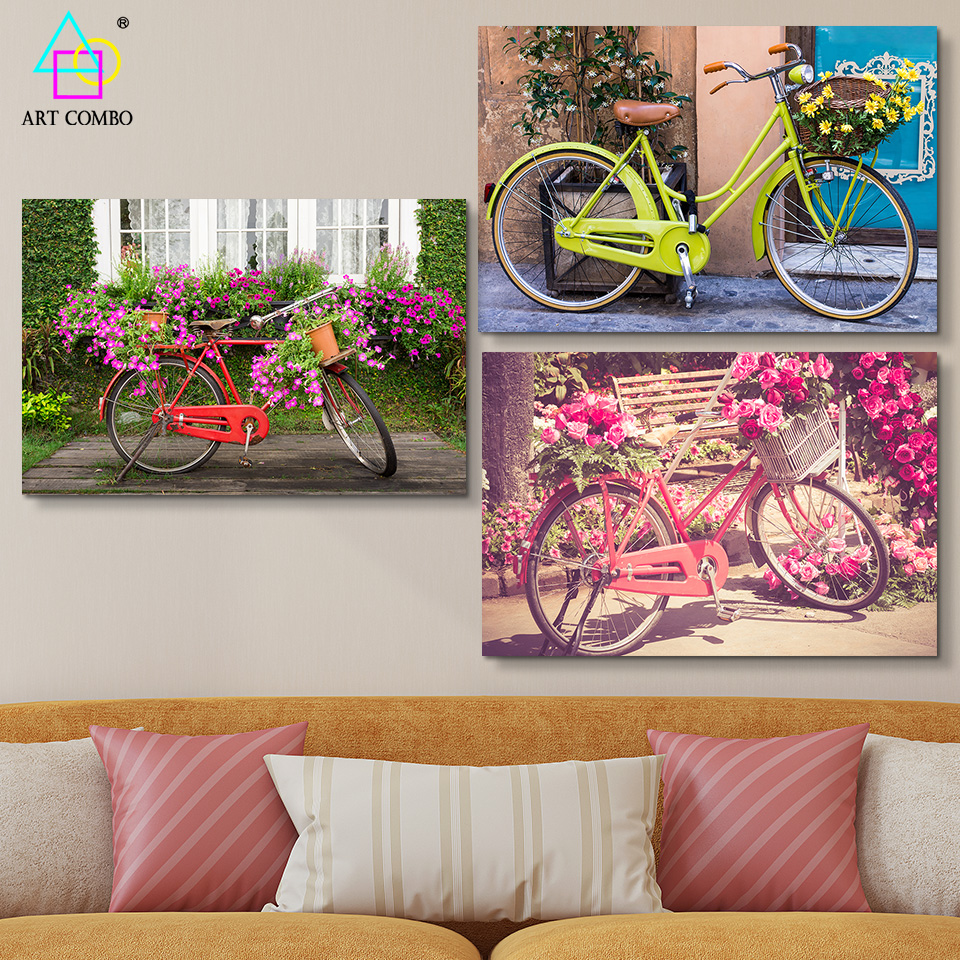 Frameless Modern Canvas Painting Beautiful Landscape Flowers and Bicycle Bright Colors Drawing Wall Art Picture ART COMBO BG029(China (Mainland))