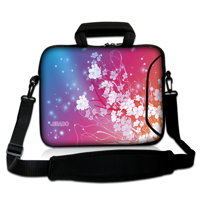 """Small White Flowers Shape 10""""13""""14""""15""""17"""" Neoprene PC Shoulder Bag Computer Handle Carring Messenger Satchel Case For Sony ASUS(China (Mainland))"""