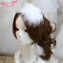American dream xian struzzo bianco velluto copricapo di piume fiore tornante ancoraggio femminile nuovo retrò sen femminile ornamenti per capelli(China (Mainland))