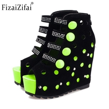 Buy Lady Gladiator Wedges Sandal Rivets Hallow Out High Wedge Trifle Sandalias Platform Summer Shoe Beach Sandals Women's Size 35-39 for $39.18 in AliExpress store