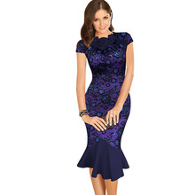 Buy Oxiuly Womens Elegant 1950s Vintage Purple Flower Lace Fitted Stretch Bodycon Formal Party Sheath Wiggle Mermaid Dress for $12.09 in AliExpress store