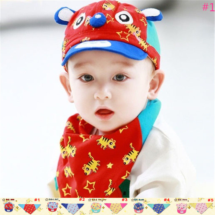 5colors New fashion baby spring cartoon hat set hat+bib /scarf Infant boy/girl soft cotton suncap TM-15004(China (Mainland))