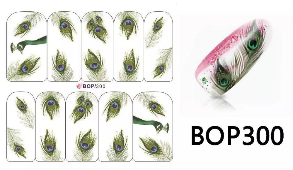 new 2015, peacock feathers stickers, 100 PCS/lot, beautiful nail art, watermark sticker, - ShoppingMadness store