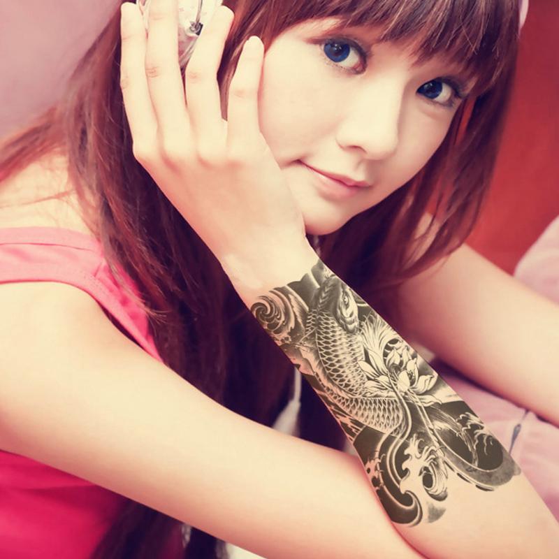 2pcsHot Black Fish Temporary Tattoo Stickers Waterproof Tattoos Body Art Fake Tattoo Paste On Arm Chest Shoulder For Men Tattoo(China (Mainland))
