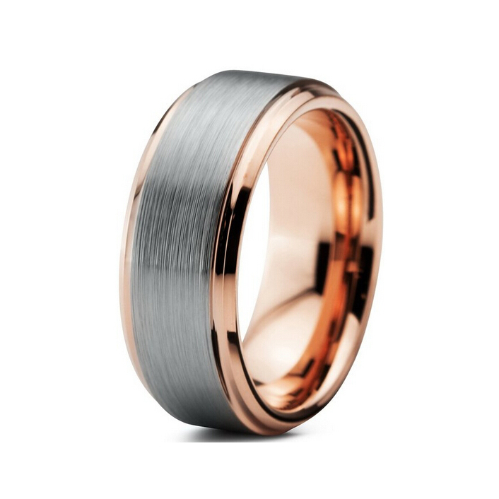 Stepped and beveled fashion tungsten wedding band for men and women rose gold plated(China (Mainland))