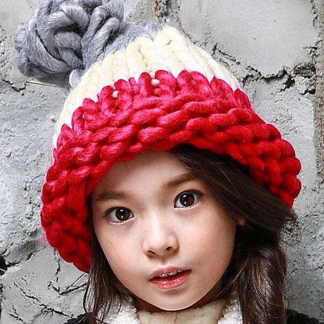 1 Шт. 2015 Новых Осенью Зимой Дети Warmmer Вязаная Шапка Девочка И Мальчик Конфеты Цвет Толстые шерстяные Шляпы Больше Цветов