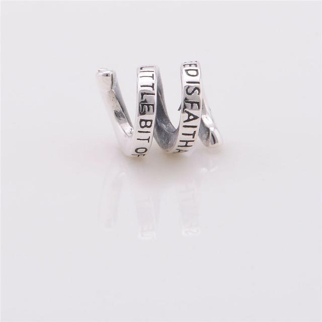 925 стерлингового серебра спираль подвеска подвески письмо бусины женщины ювелирные изделия DIY подходит европейский бренд змея цепи браслет