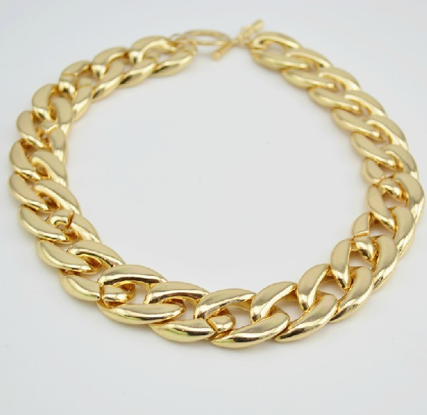 18'Choker New Shiny High Quality Light Gold Plated Simple Chunky Curb Chain Necklace Choker Women Free Shipping