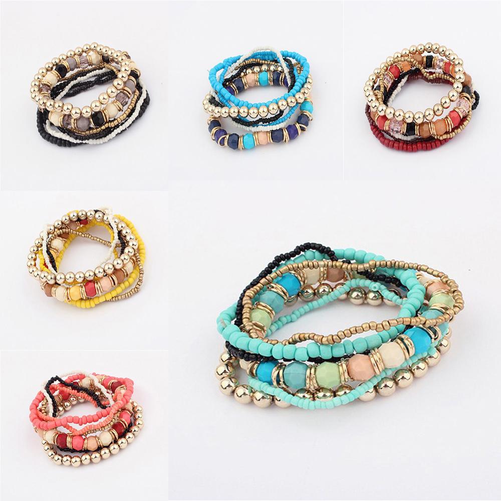 Wholesale Lots New Fashion Jewelry Bohemia 7Layers/set Stretch Women Strand Bracelet Bangle Set(China (Mainland))