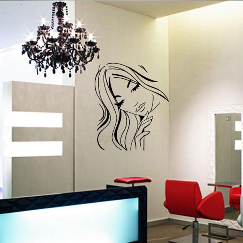 Hair salon sticker hairdresser decal barber shop posters for Custom vinyl mural prints