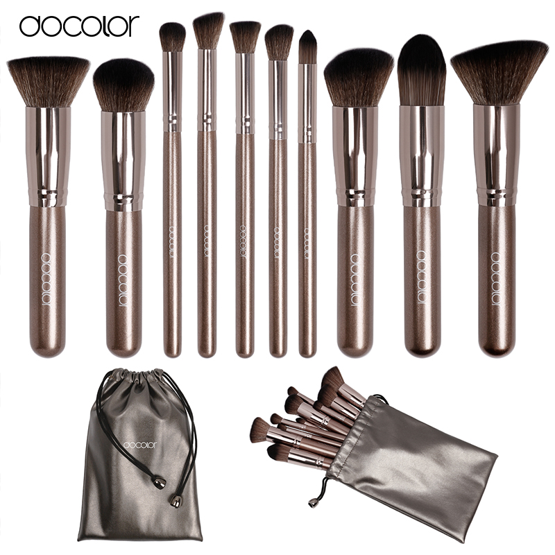 Docolor makeup brushes 10pcs Professional brand make up brushes set with bag coffee color with brush clean top Synthetic Hair(China (Mainland))