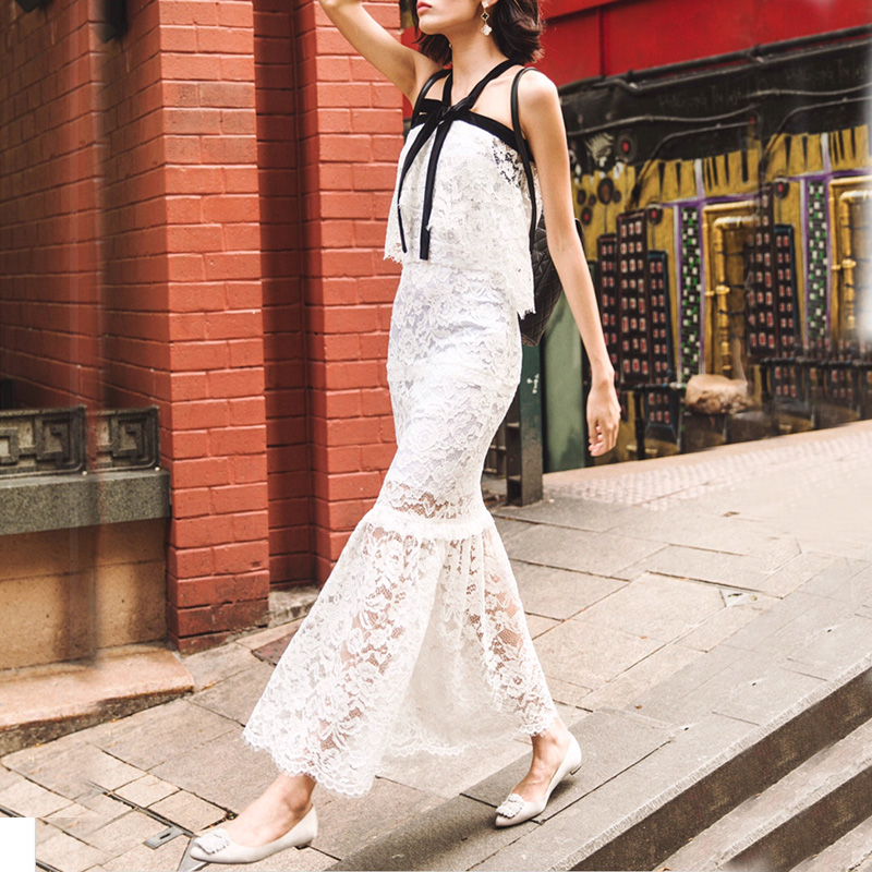 self portrait 2016 long white lace dress cute women summer dress(China (Mainland))