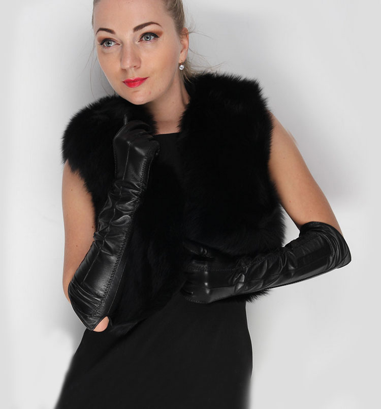 "47cm(18.5"") long elbow length long lines open arm style top goat leather gloves black(China (Mainland))"