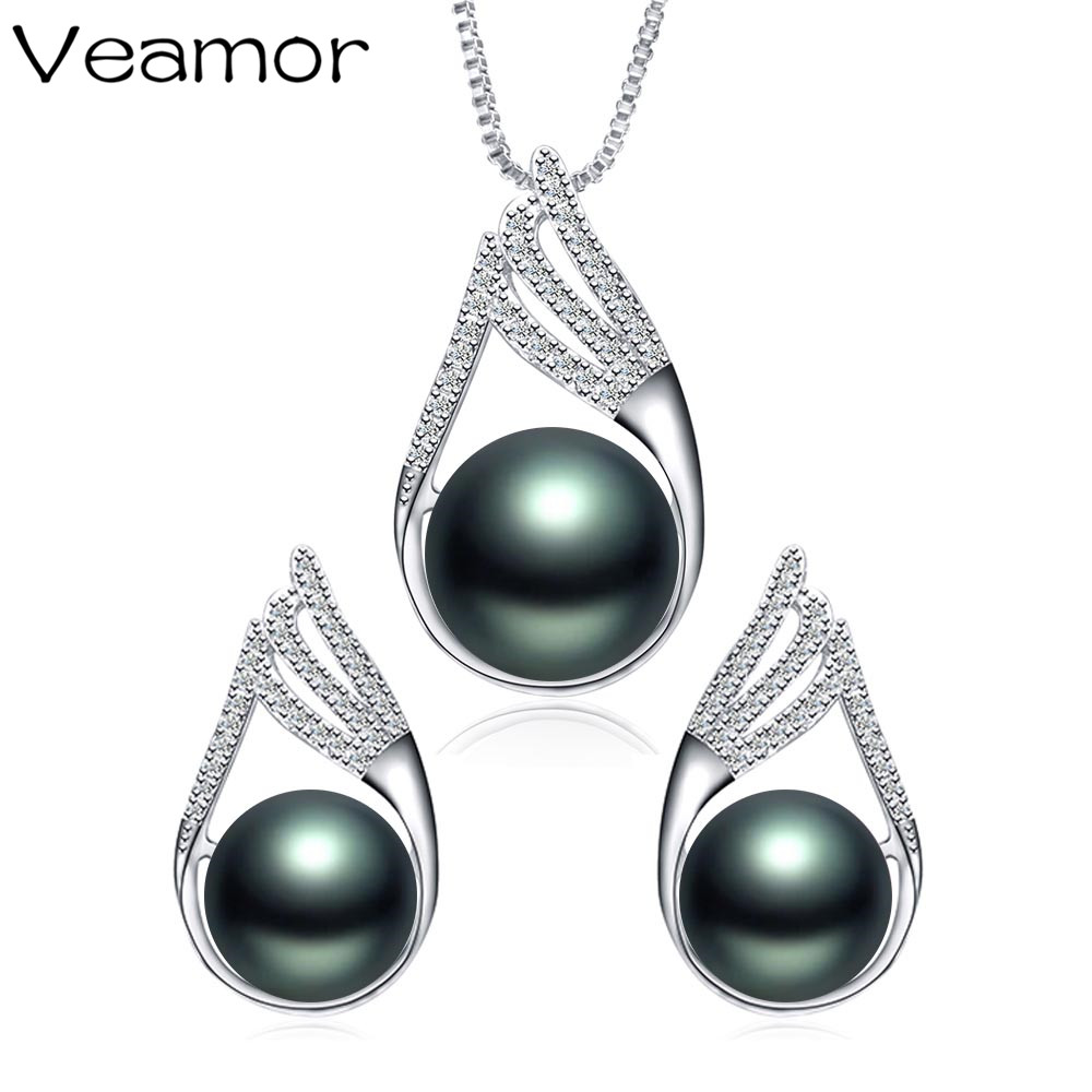 Veamor Trendy Jewelry Black Pearl Jewelry Set 11-12mm Big Size Pearl Earrings& Necklace Pendant for Women With Gift Box(China (Mainland))