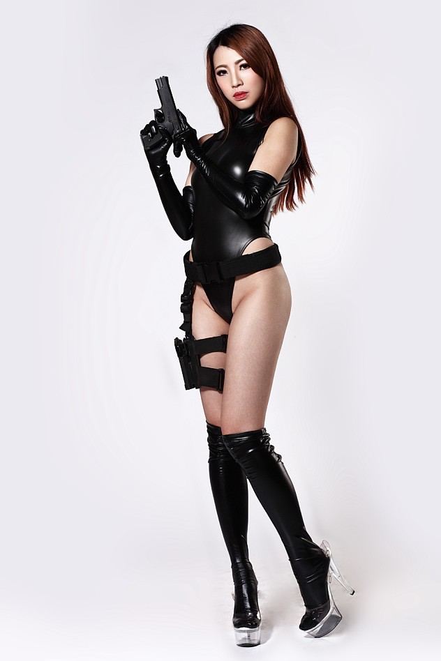 Ladies leather gloves xl - 240d Latex Catsuit Body Suits For Women New Stretch Black Sleeveless