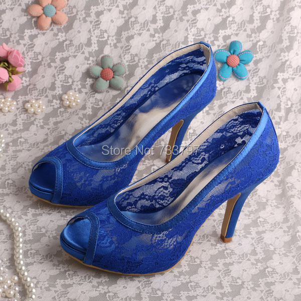 Wedopus MW216 Breathable Blue Lace Bridesmaid Shoes Peep Toe High Heels